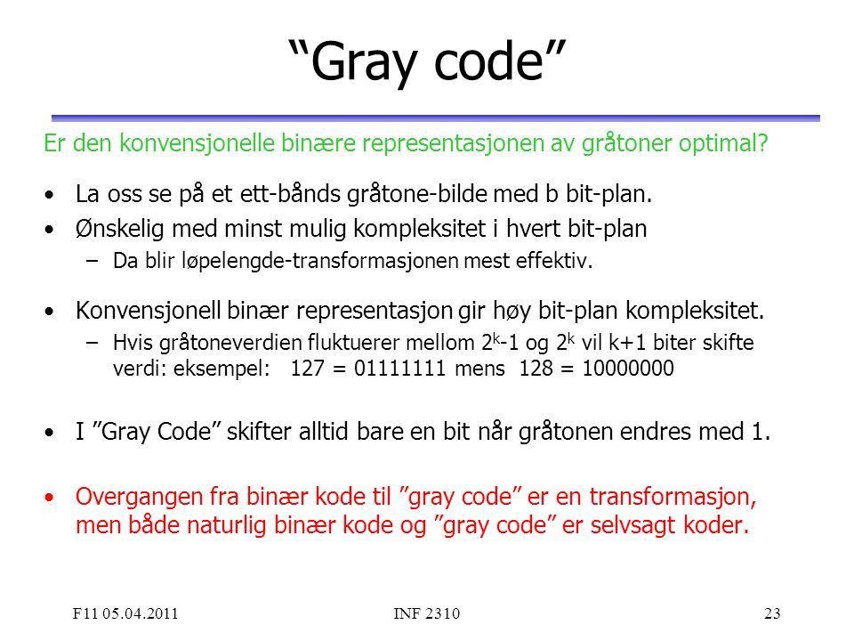 Gray code Er den konvensjonelle binære representasjonen av gråtoner optimal La oss se på et ett-bånds gråtone-bilde med b bit-plan.