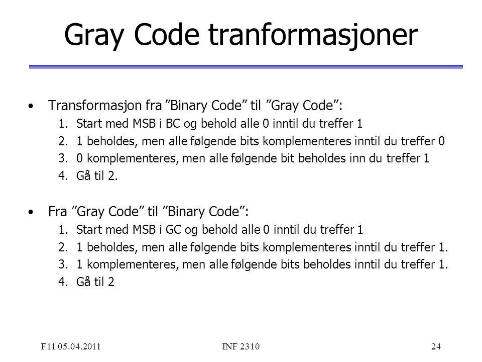Gray Code tranformasjoner