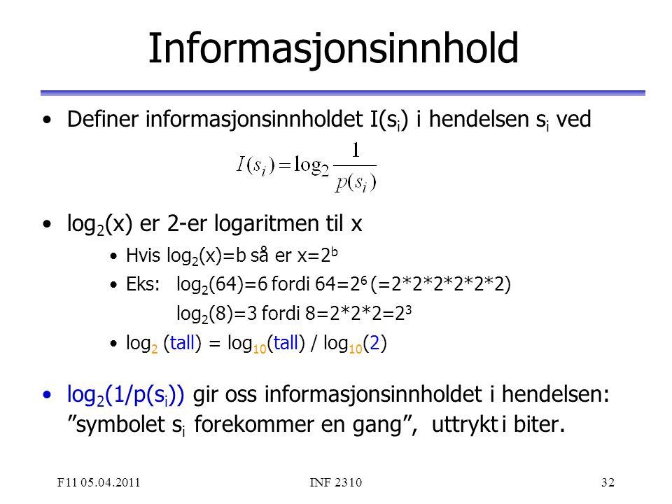 Informasjonsinnhold Definer informasjonsinnholdet I(si) i hendelsen si ved. log2(x) er 2-er logaritmen til x.