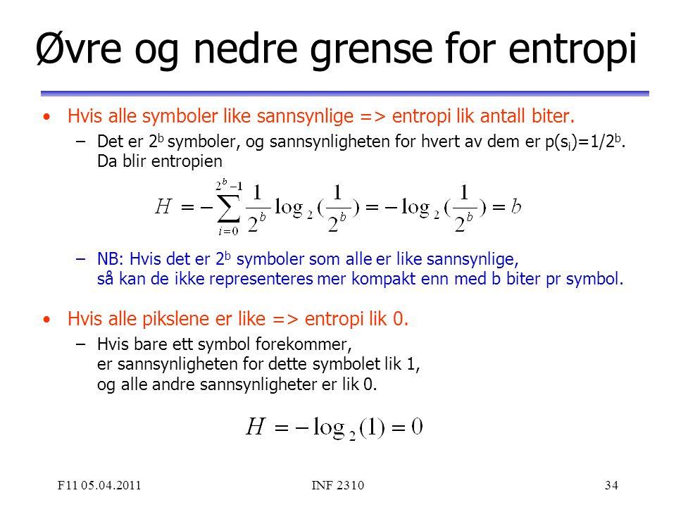 Øvre og nedre grense for entropi