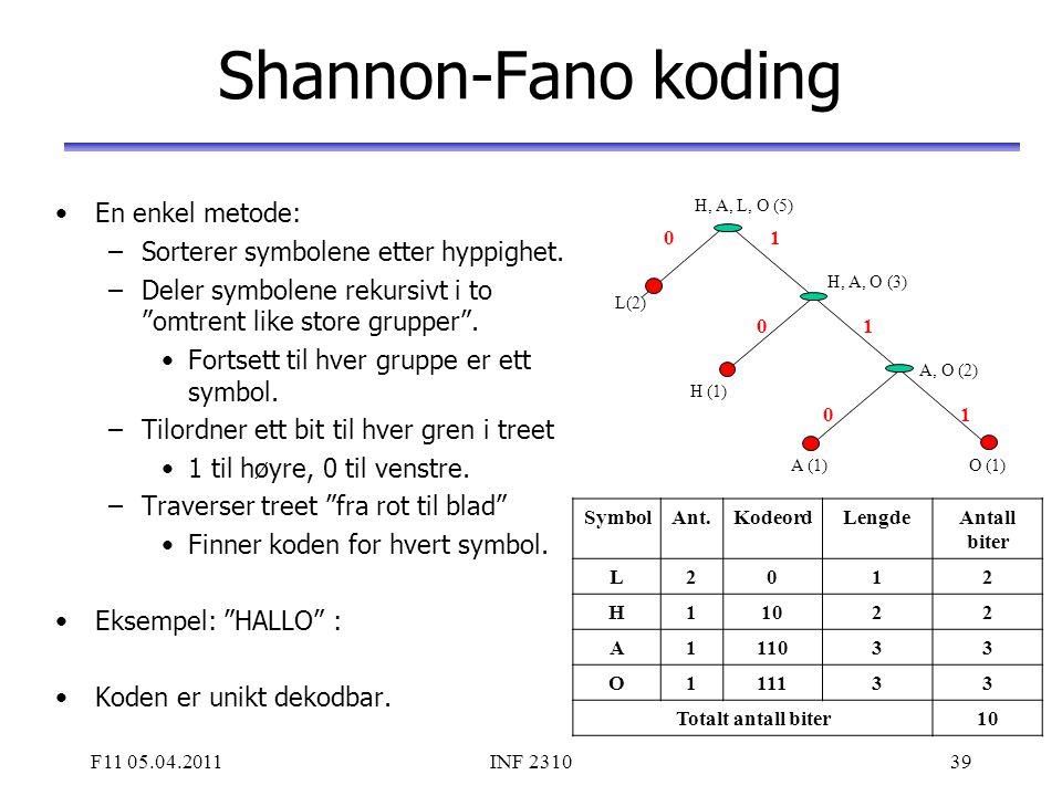 Shannon-Fano koding En enkel metode: