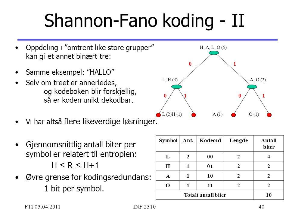 Shannon-Fano koding - II