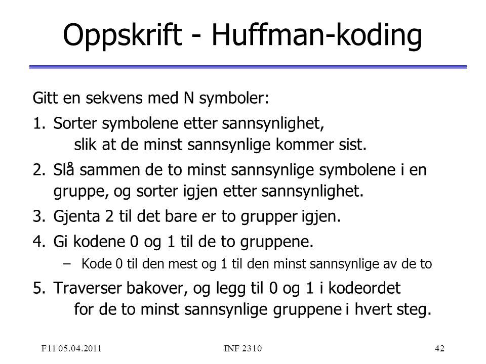 Oppskrift - Huffman-koding