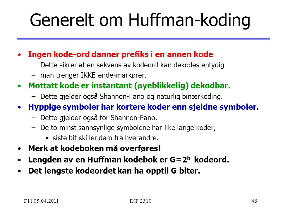 Generelt om Huffman-koding