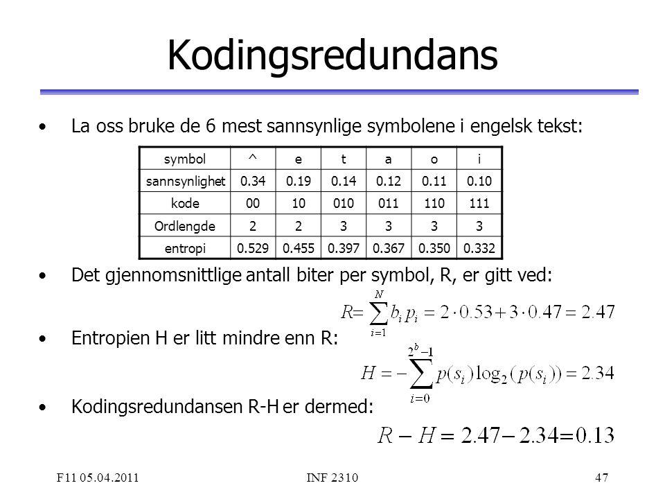 Kodingsredundans La oss bruke de 6 mest sannsynlige symbolene i engelsk tekst: Det gjennomsnittlige antall biter per symbol, R, er gitt ved: