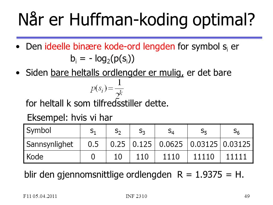Når er Huffman-koding optimal