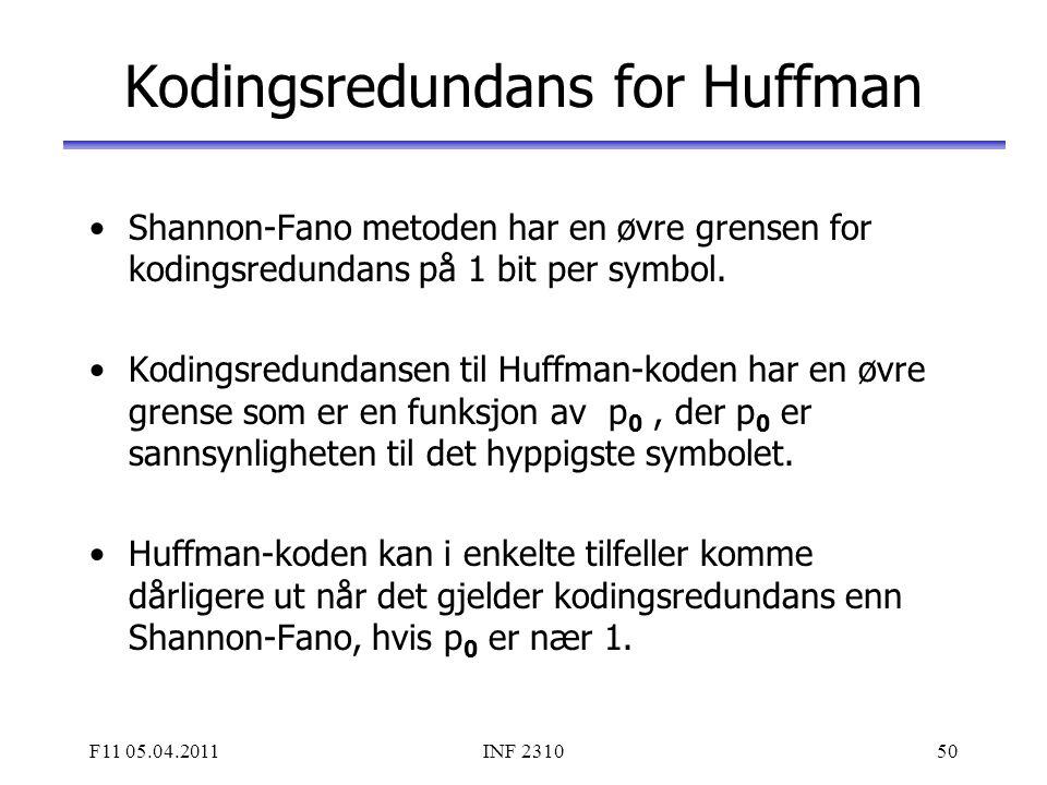 Kodingsredundans for Huffman