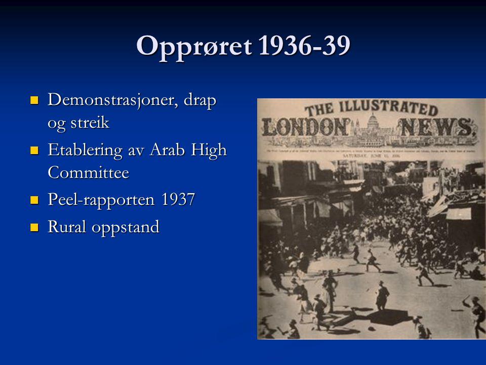 Opprøret 1936-39 Demonstrasjoner, drap og streik