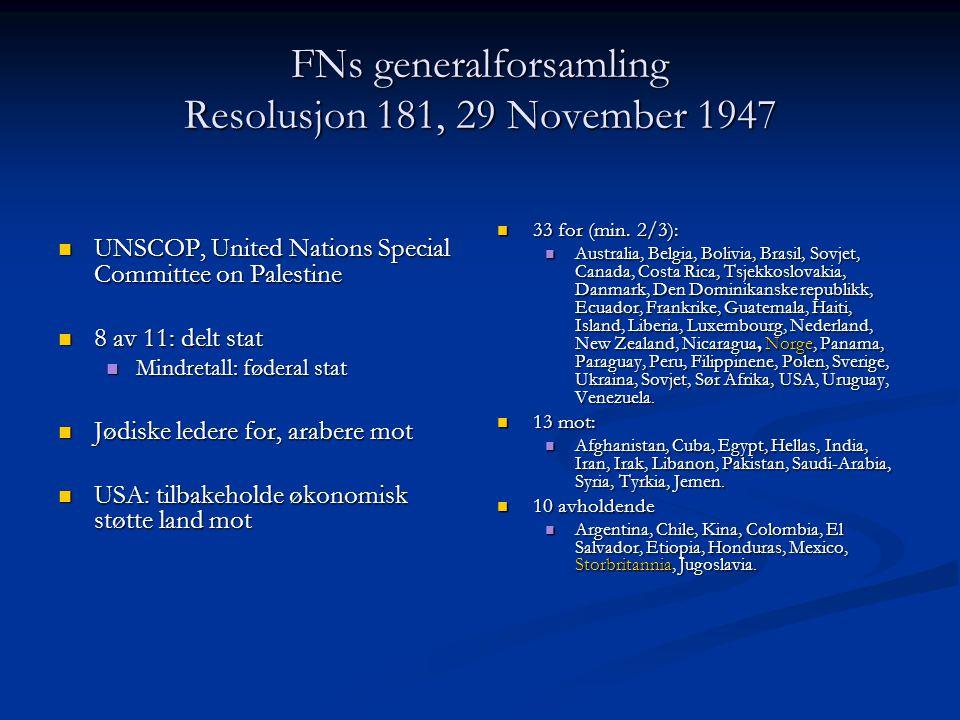 FNs generalforsamling Resolusjon 181, 29 November 1947