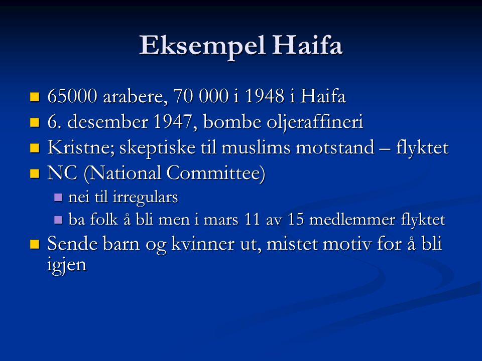 Eksempel Haifa 65000 arabere, 70 000 i 1948 i Haifa