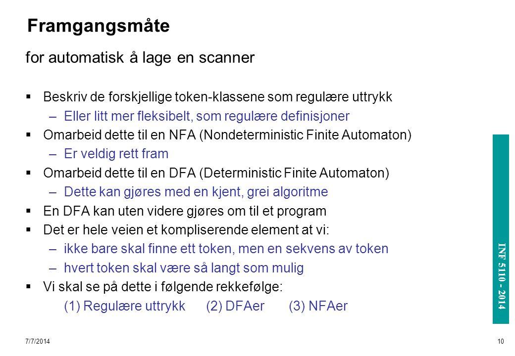 Framgangsmåte for automatisk å lage en scanner
