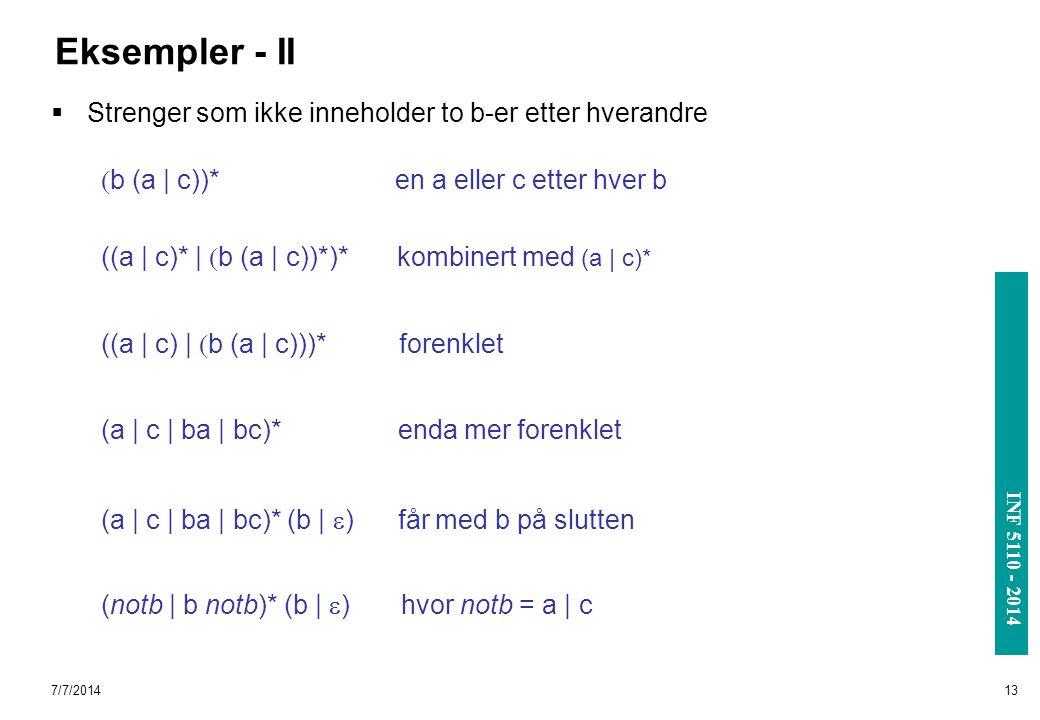 Eksempler - II Strenger som ikke inneholder to b-er etter hverandre