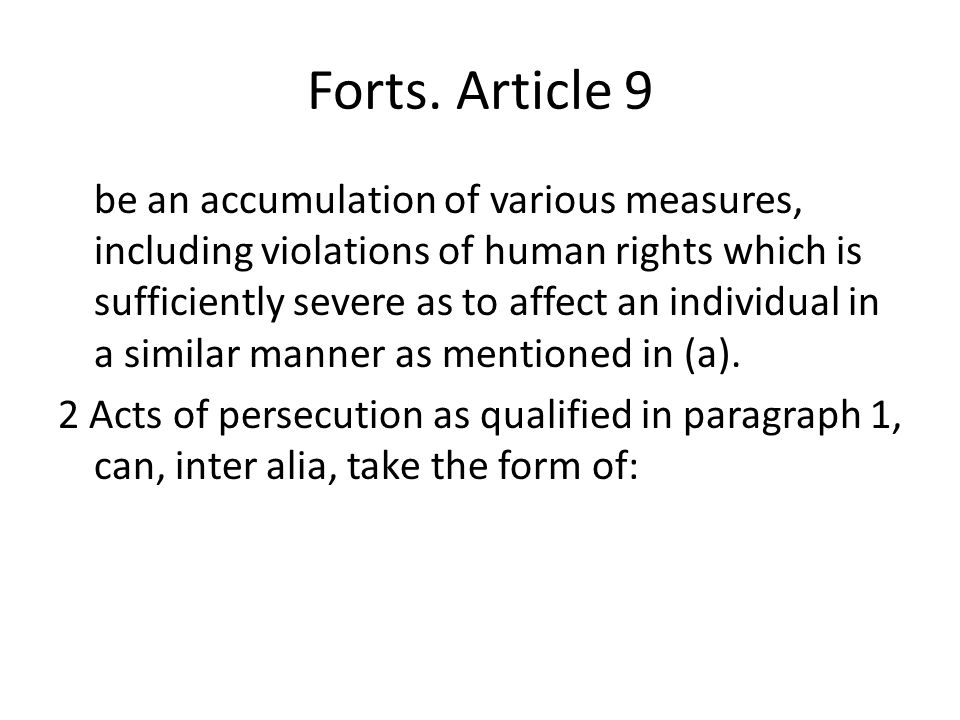 Forts. Article 9