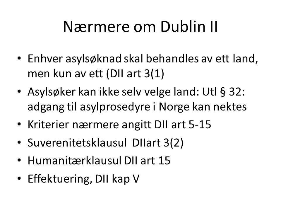 Nærmere om Dublin II Enhver asylsøknad skal behandles av ett land, men kun av ett (DII art 3(1)