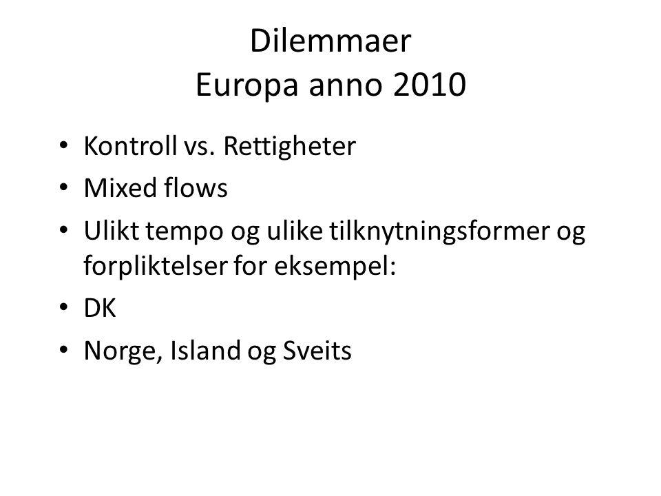 Dilemmaer Europa anno 2010 Kontroll vs. Rettigheter Mixed flows