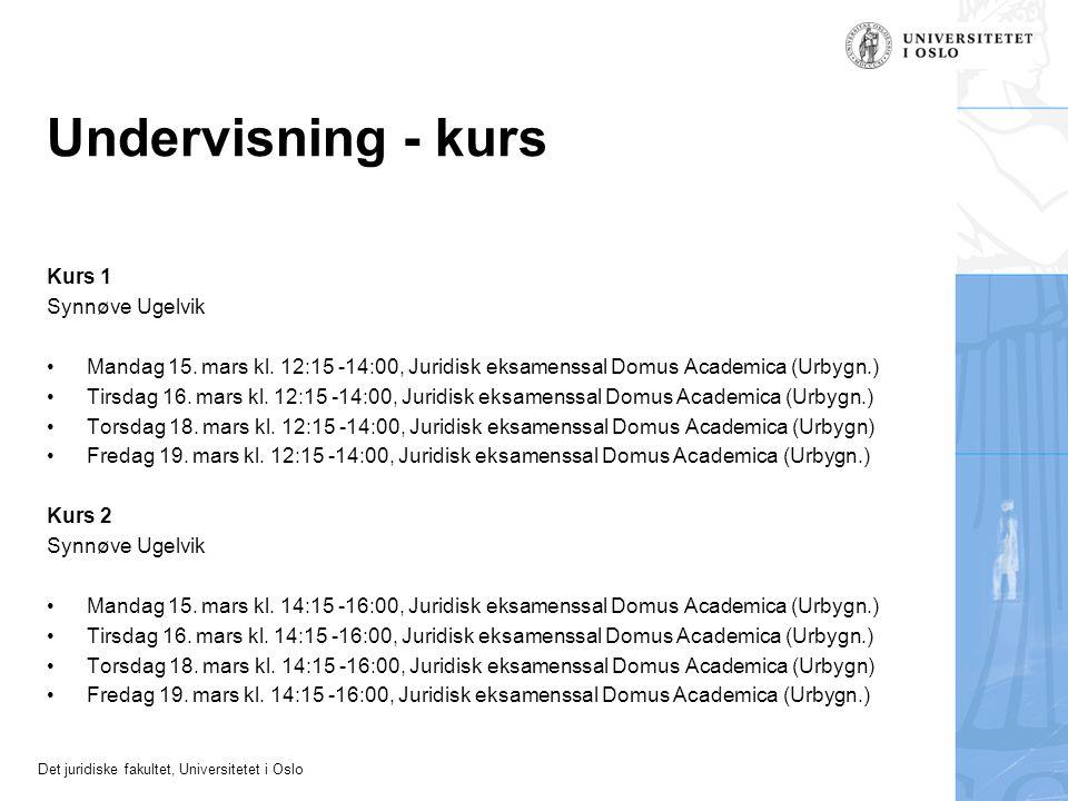 Undervisning - kurs Kurs 1 Synnøve Ugelvik