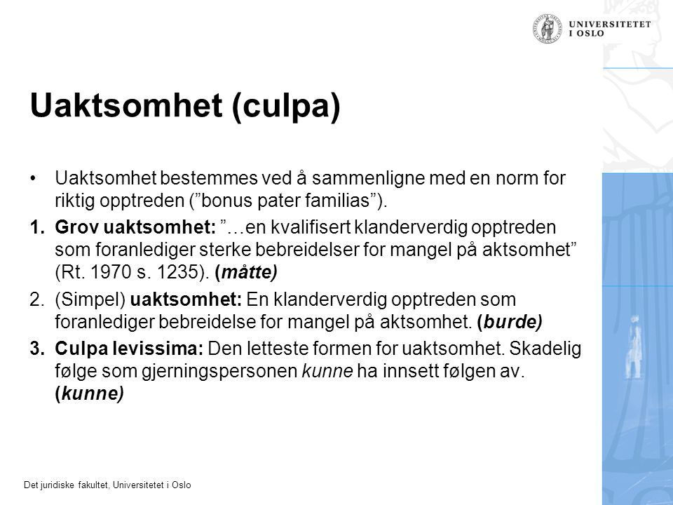 Uaktsomhet (culpa) Uaktsomhet bestemmes ved å sammenligne med en norm for riktig opptreden ( bonus pater familias ).