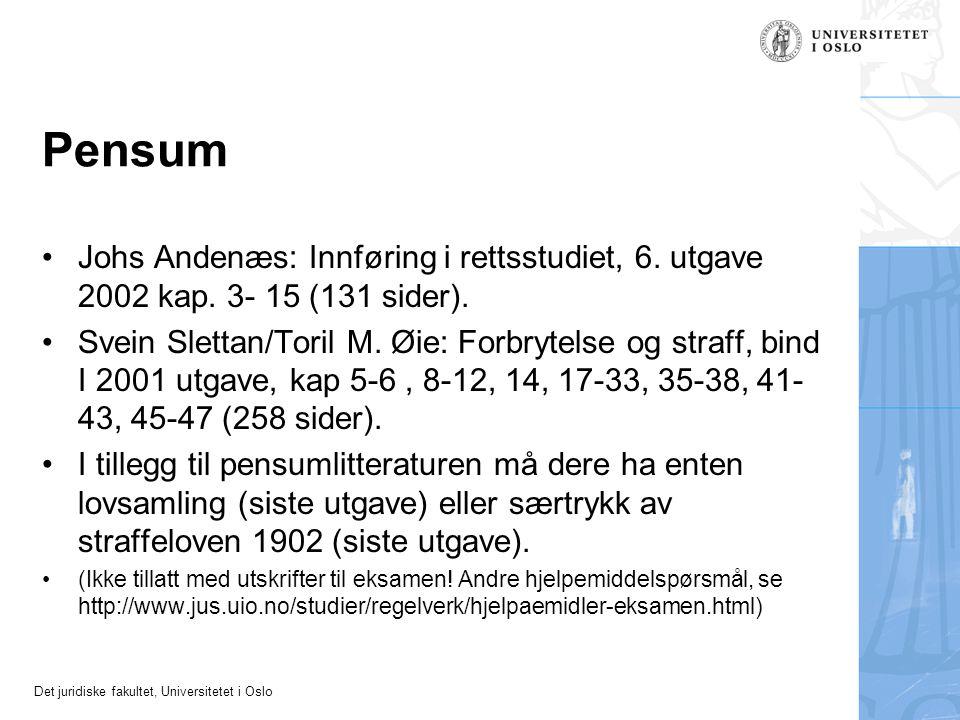 Pensum Johs Andenæs: Innføring i rettsstudiet, 6. utgave 2002 kap. 3- 15 (131 sider).