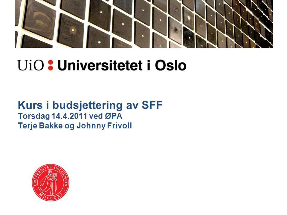 Kurs i budsjettering av SFF Torsdag 14. 4