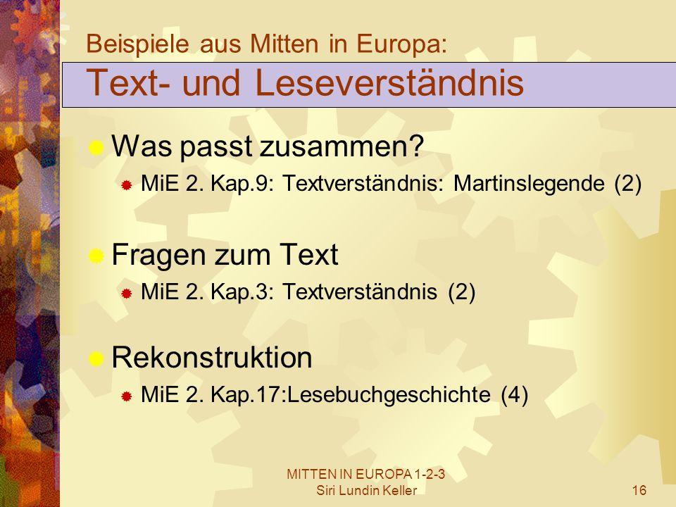 Beispiele aus Mitten in Europa: Text- und Leseverständnis