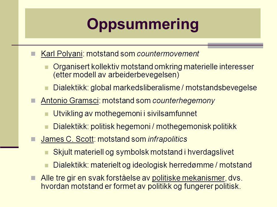 Oppsummering Karl Polyani: motstand som countermovement