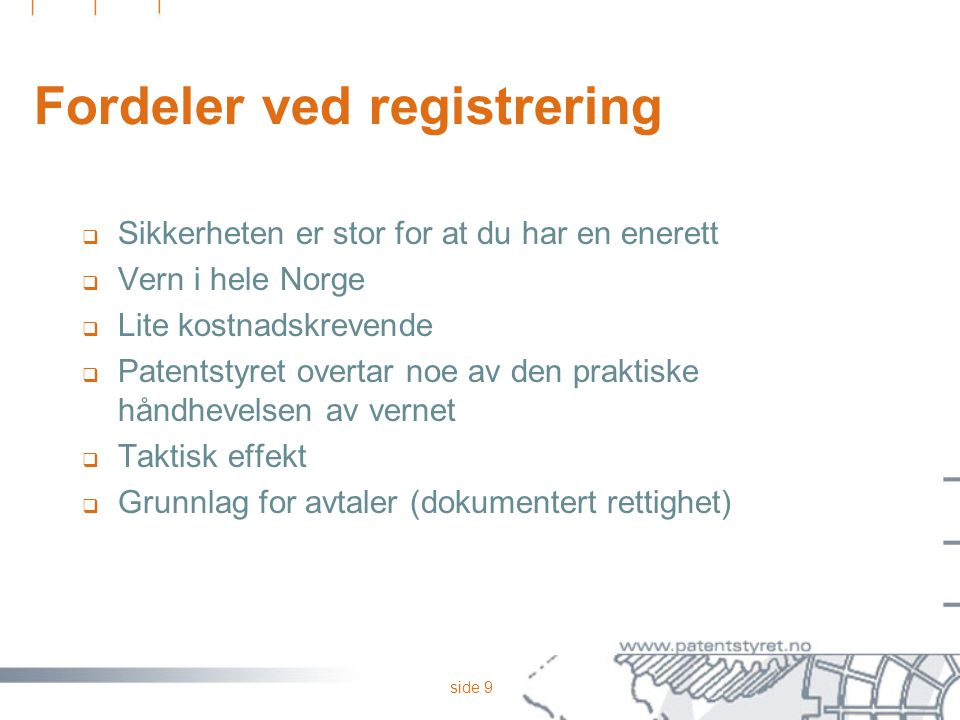 Fordeler ved registrering