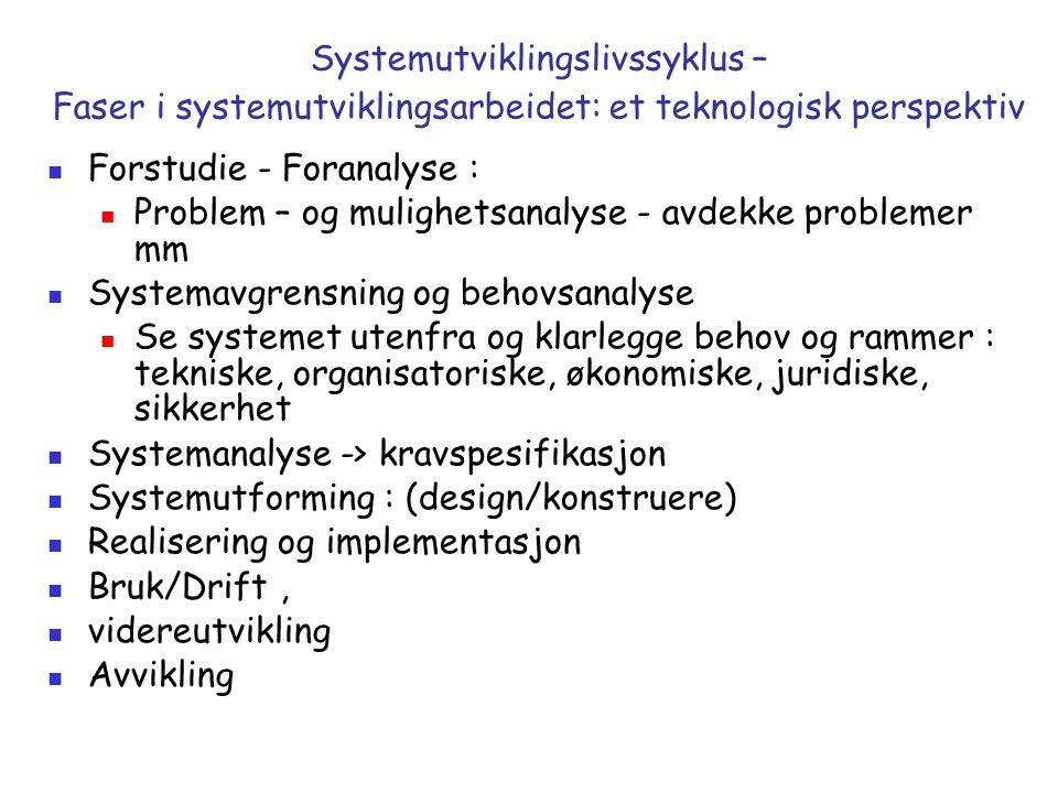 Forstudie - Foranalyse :