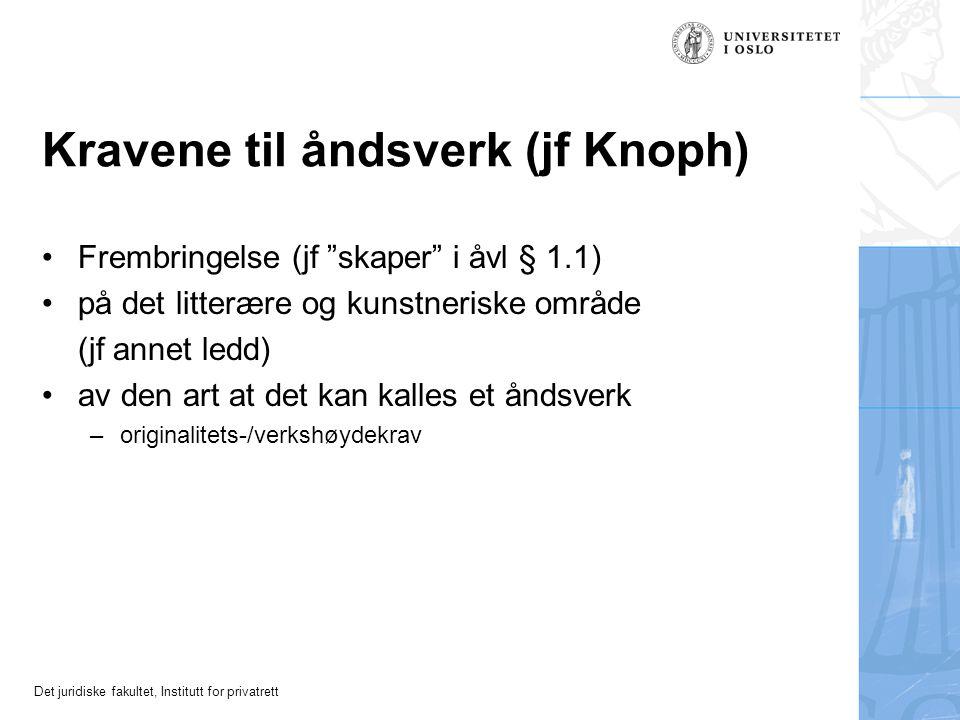 Kravene til åndsverk (jf Knoph)