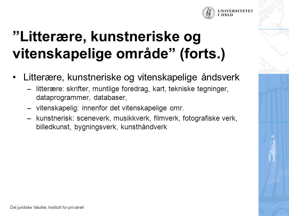 Litterære, kunstneriske og vitenskapelige område (forts.)