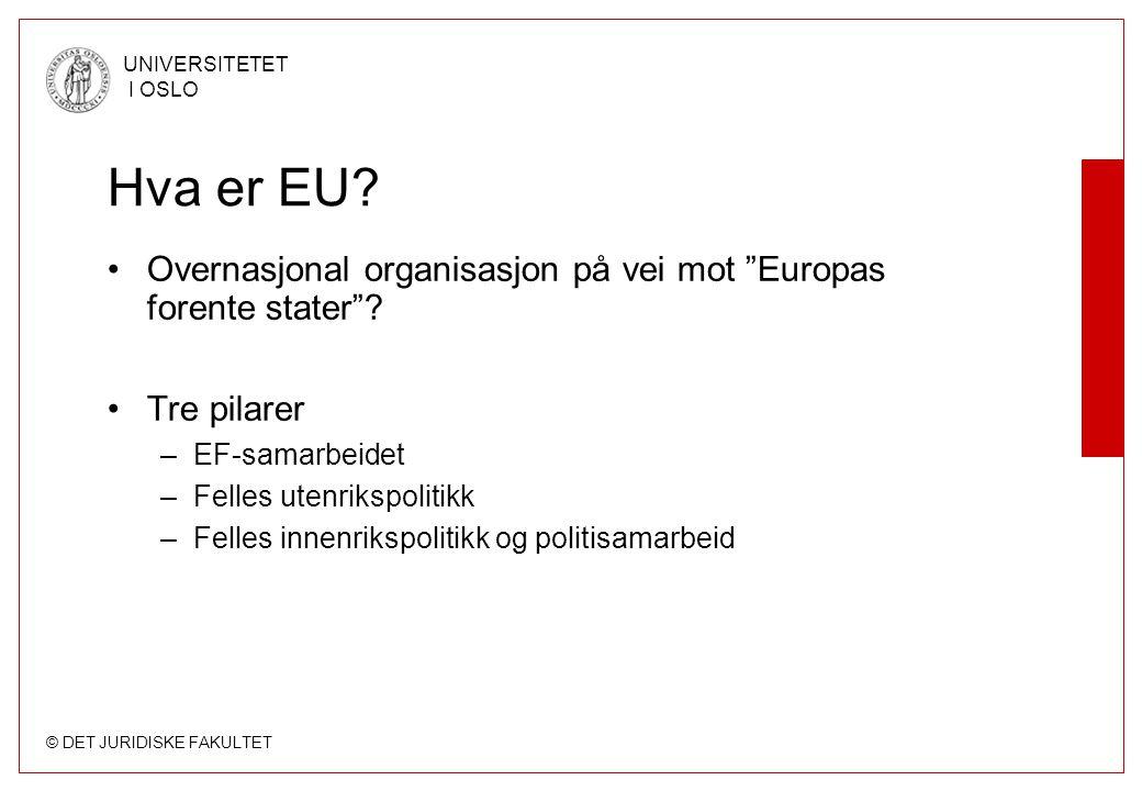 Hva er EU Overnasjonal organisasjon på vei mot Europas forente stater Tre pilarer. EF-samarbeidet.