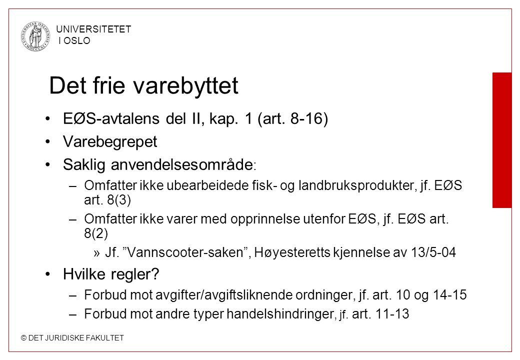 Det frie varebyttet EØS-avtalens del II, kap. 1 (art. 8-16)