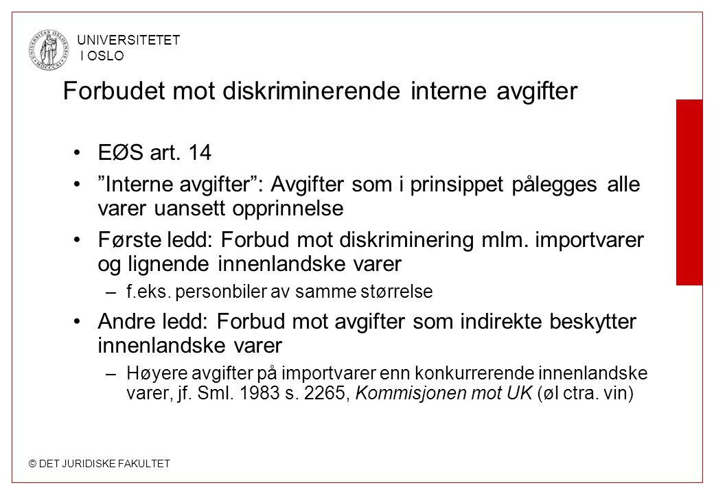 Forbudet mot diskriminerende interne avgifter