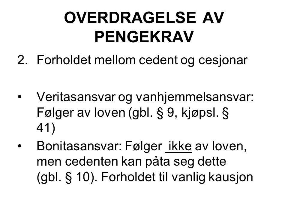 OVERDRAGELSE AV PENGEKRAV
