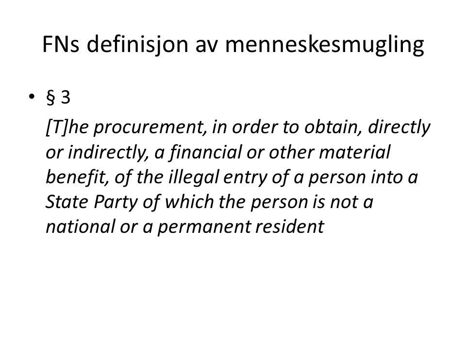 FNs definisjon av menneskesmugling