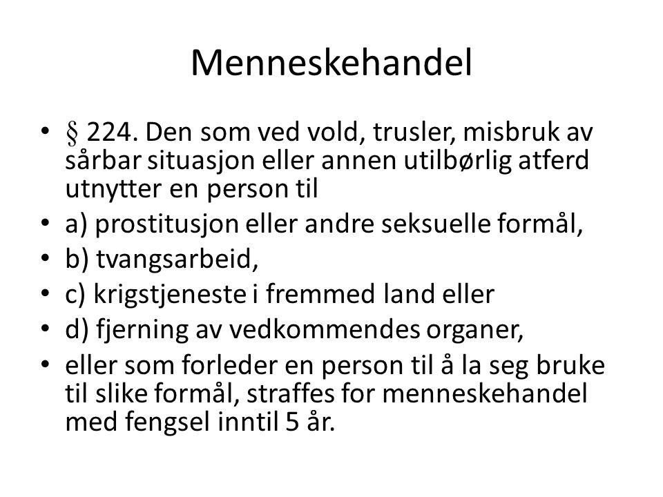 Menneskehandel § 224. Den som ved vold, trusler, misbruk av sårbar situasjon eller annen utilbørlig atferd utnytter en person til.