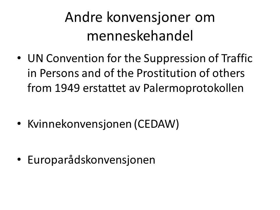 Andre konvensjoner om menneskehandel