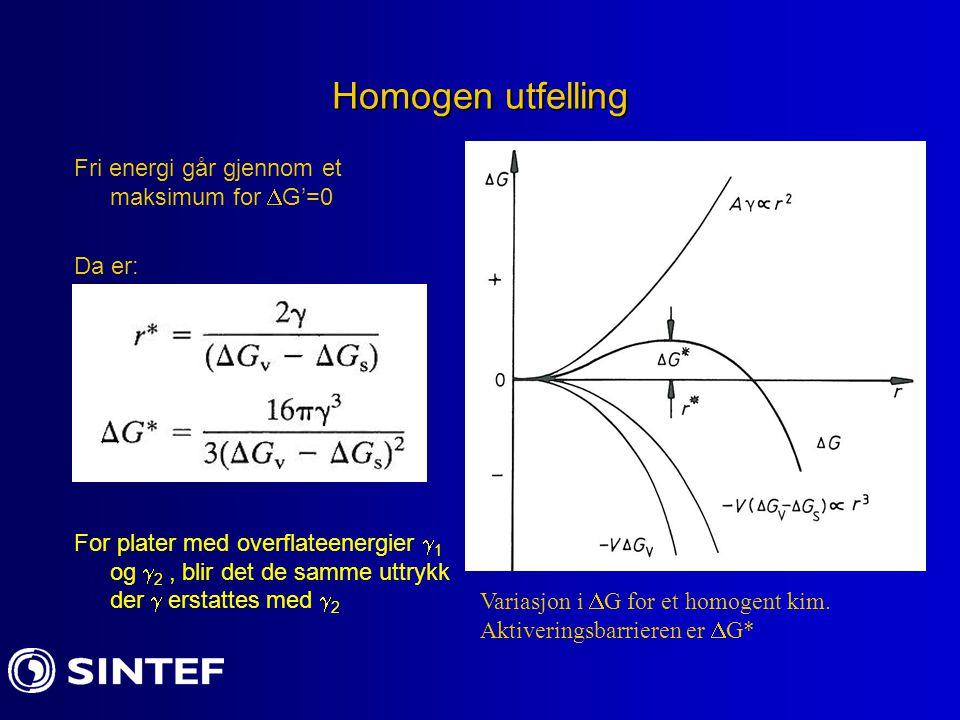 Homogen utfelling Fri energi går gjennom et maksimum for G'=0 Da er: