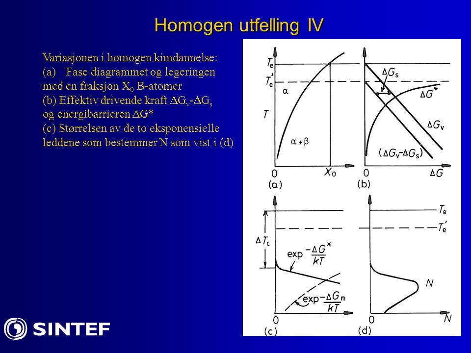 Homogen utfelling IV Variasjonen i homogen kimdannelse: