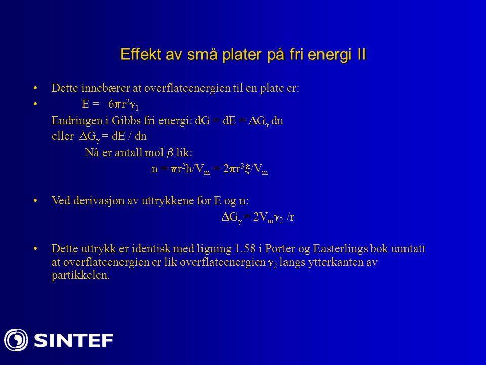 Effekt av små plater på fri energi II