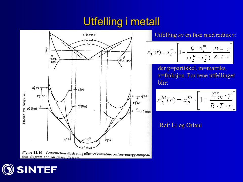 Utfelling i metall Utfelling av en fase med radius r: