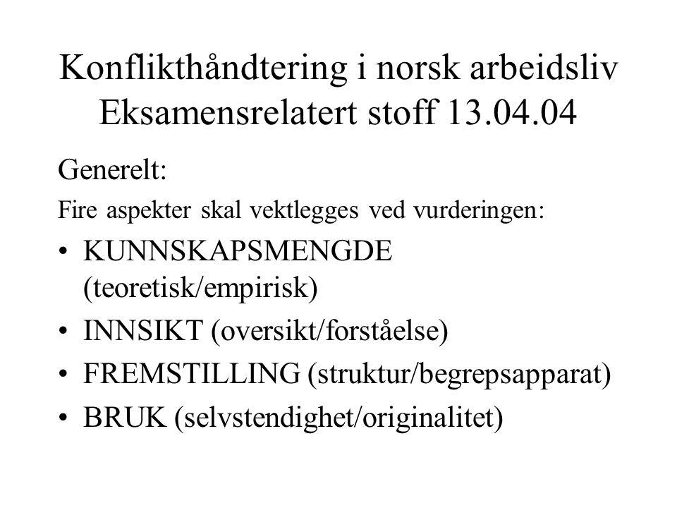 Konflikthåndtering i norsk arbeidsliv Eksamensrelatert stoff 13.04.04