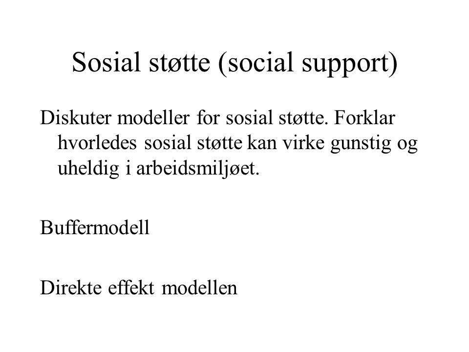 Sosial støtte (social support)