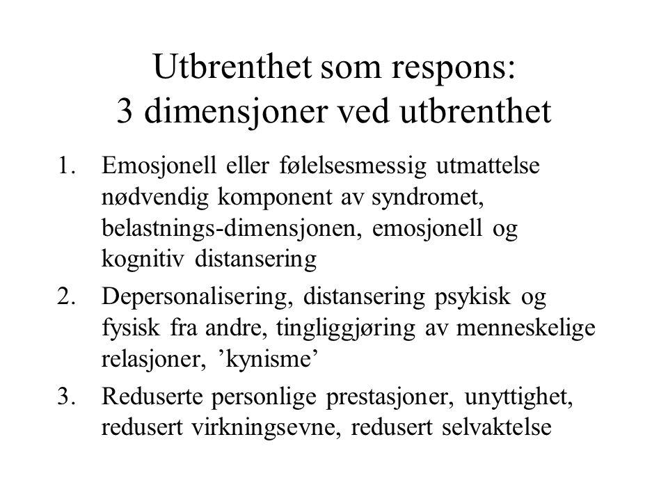 Utbrenthet som respons: 3 dimensjoner ved utbrenthet
