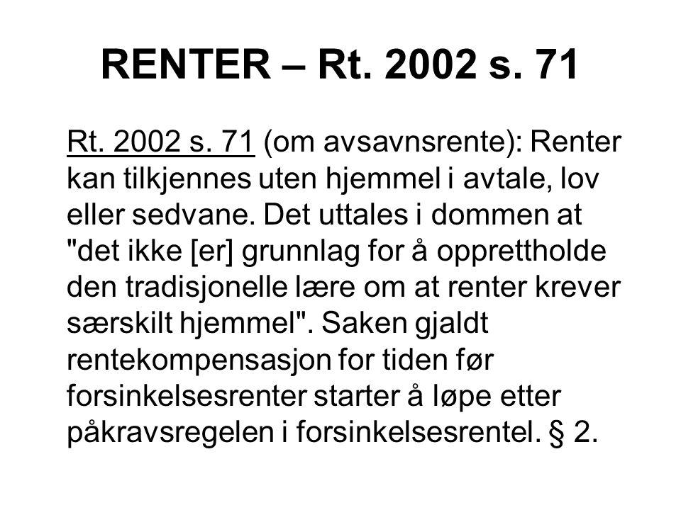 RENTER – Rt. 2002 s. 71