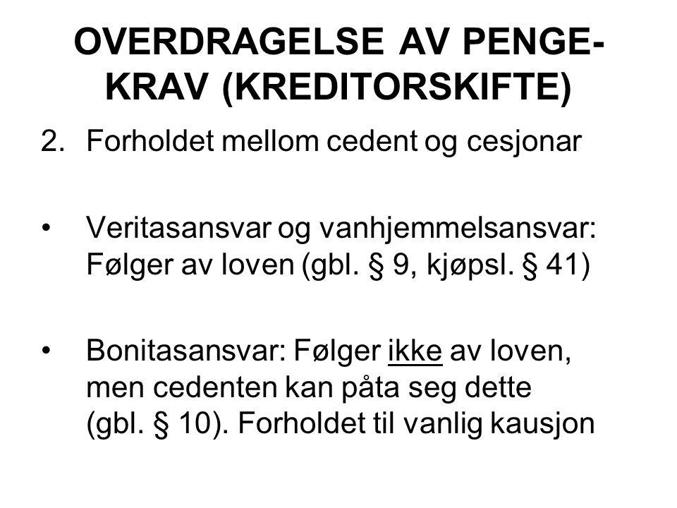 OVERDRAGELSE AV PENGE-KRAV (KREDITORSKIFTE)