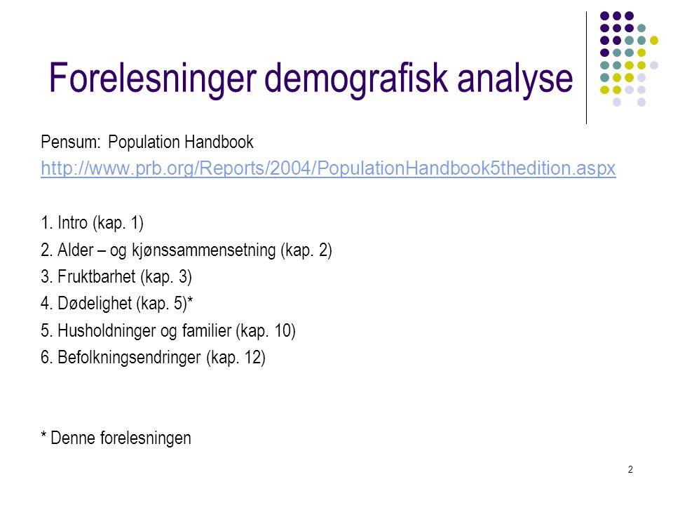 Forelesninger demografisk analyse
