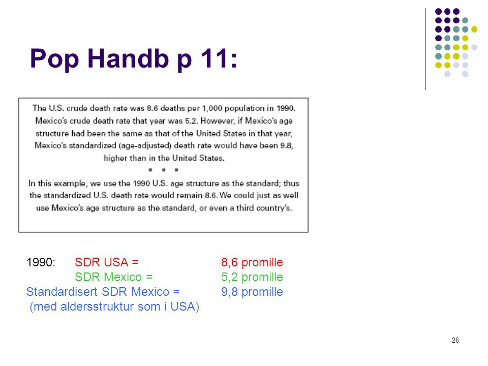 Pop Handb p 11: 1990: SDR USA = 8,6 promille SDR Mexico = 5,2 promille