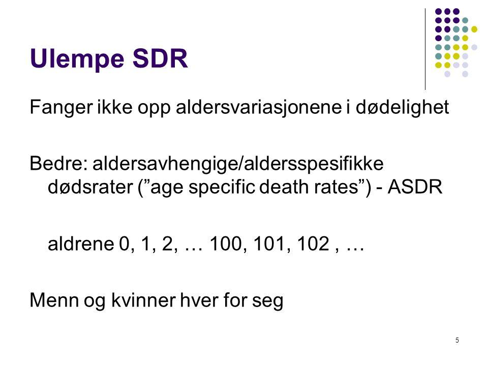 Ulempe SDR Fanger ikke opp aldersvariasjonene i dødelighet