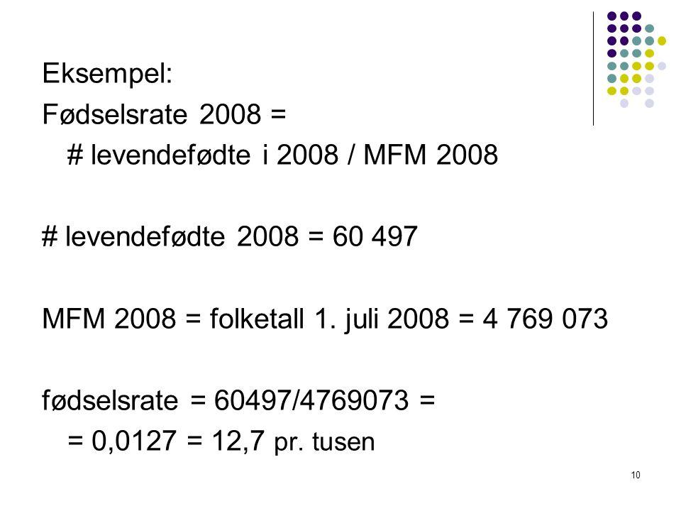 Eksempel: Fødselsrate 2008 = # levendefødte i 2008 / MFM 2008. # levendefødte 2008 = 60 497. MFM 2008 = folketall 1. juli 2008 = 4 769 073.