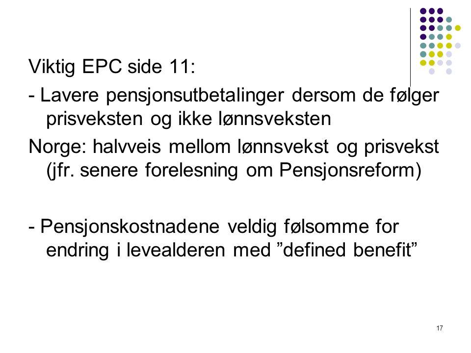Viktig EPC side 11: - Lavere pensjonsutbetalinger dersom de følger prisveksten og ikke lønnsveksten Norge: halvveis mellom lønnsvekst og prisvekst (jfr.
